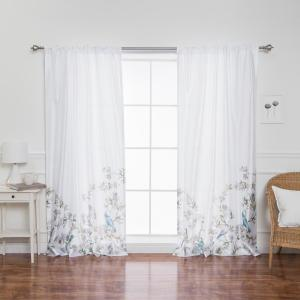Faux Silk Bluebird Patterned Rod Pocket White Curtain Panel - 84 inch L x 52 inch W (2-Pack) by