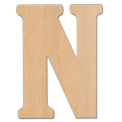 15 in. Oversized Unfinished Wood Letter (N)
