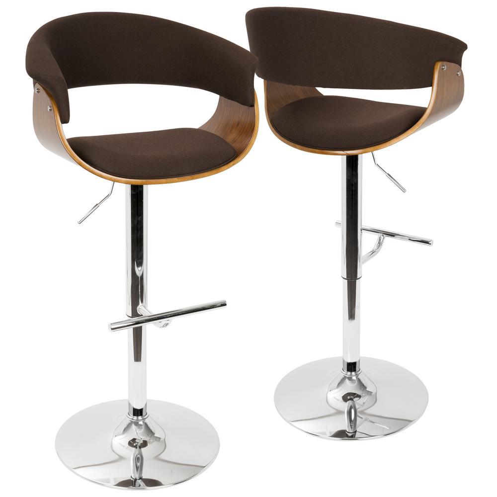 Vintage Mod Walnut and Espresso Adjustable Barstool