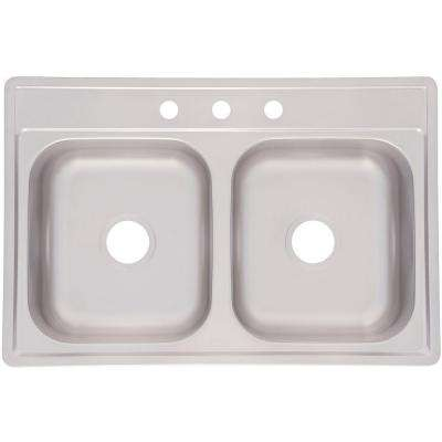 Drop-In Stainless Steel 33x22x7 3-Hole Double Bowl Kitchen Sink