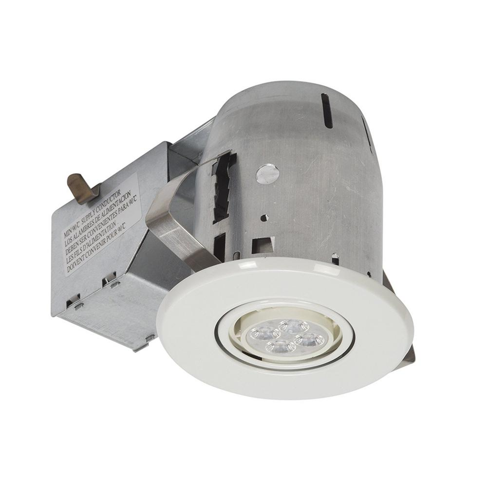 Bathroom Recessed Lighting Kit: Globe Electric 3 In. White LED IC Rated Swivel Spotlight