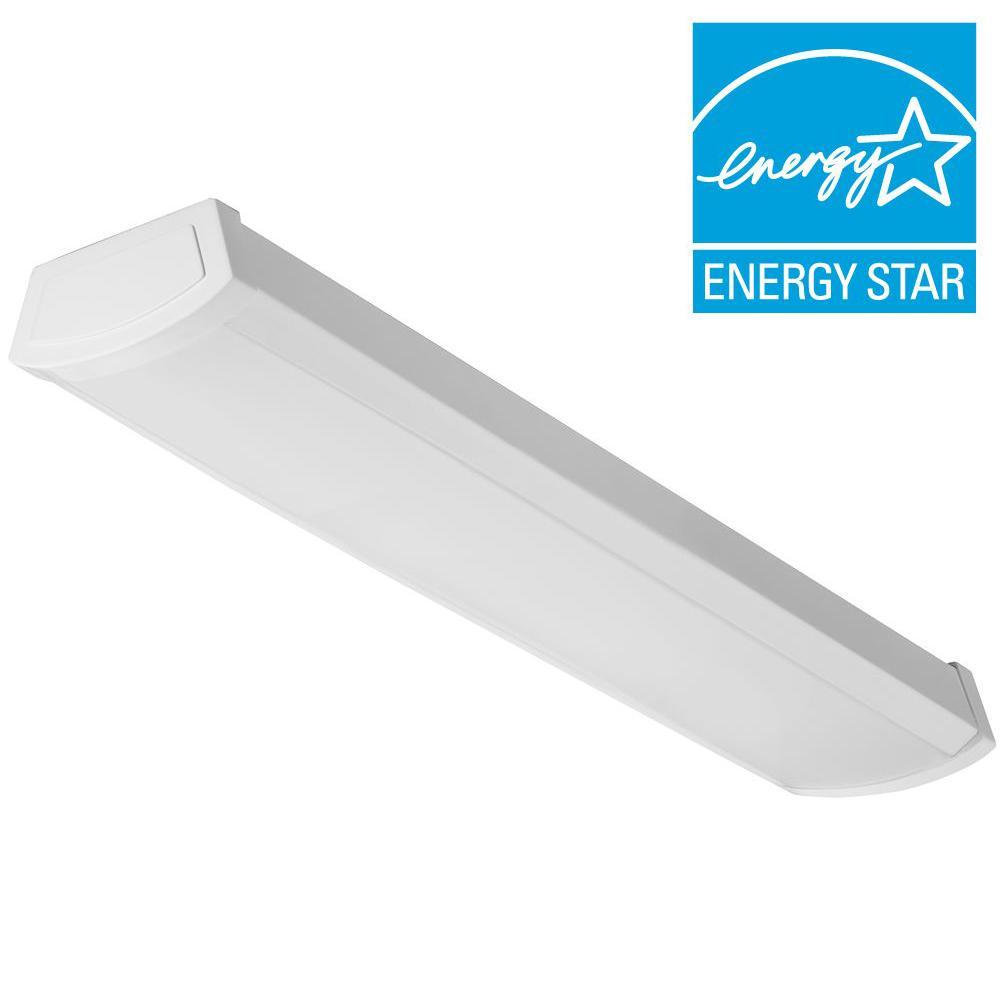 FMLWL 24 840 20 -Watt White Integrated LED Flushmount  sc 1 st  Home Depot & Rectangle - Flushmount Lights - Lighting - The Home Depot