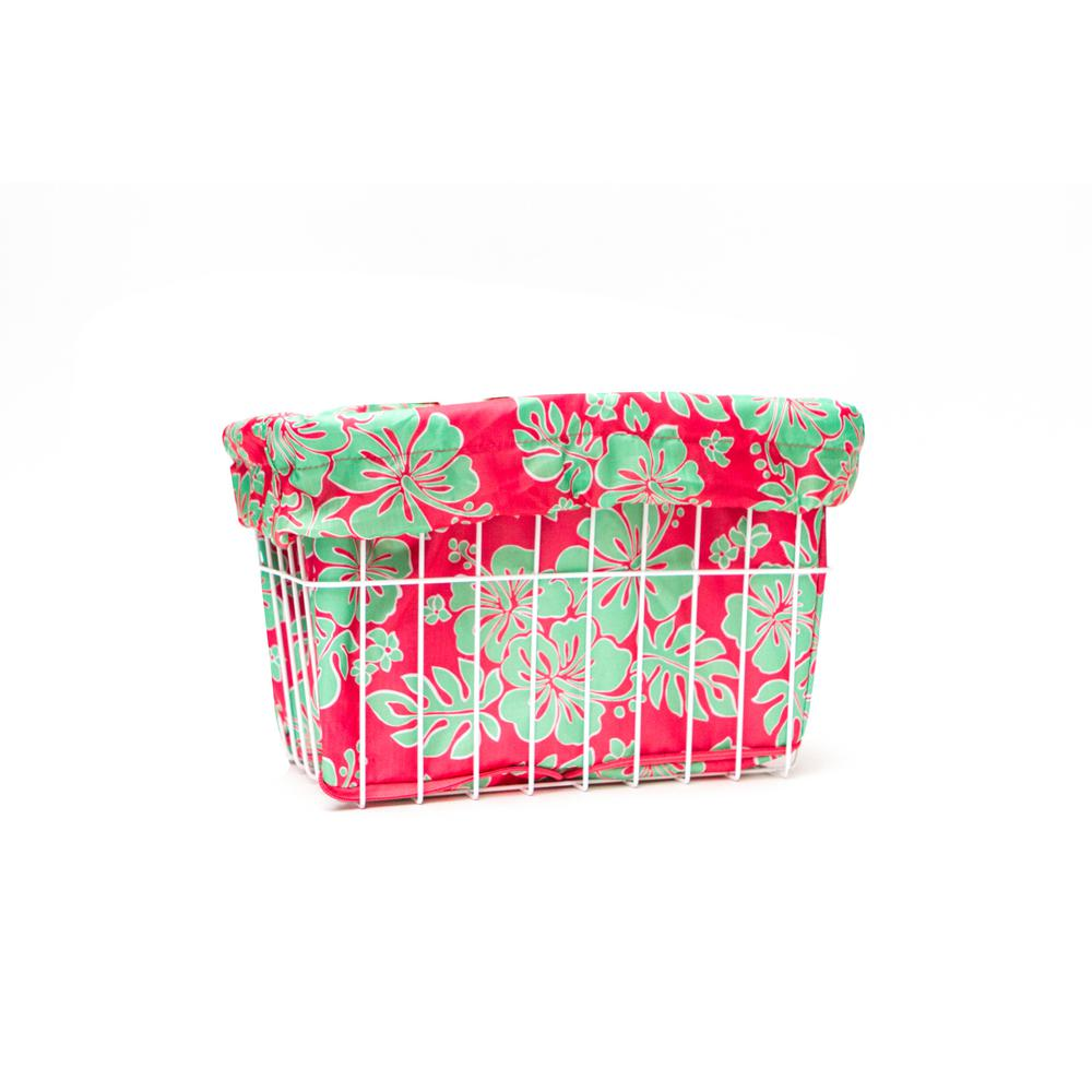 Cruiser Candy Coral/Green Hibiscus Bicycle Basket Liner