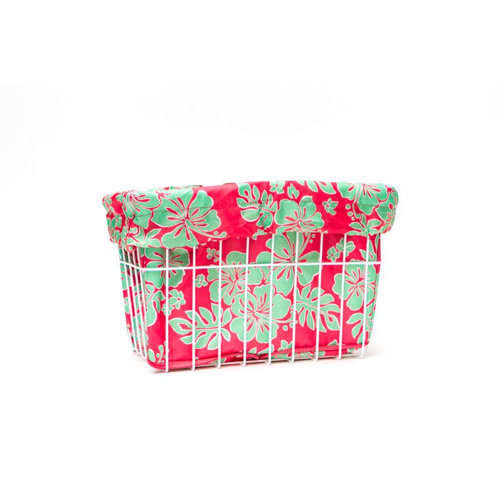 Coral/Green Hibiscus Bicycle Basket Liner