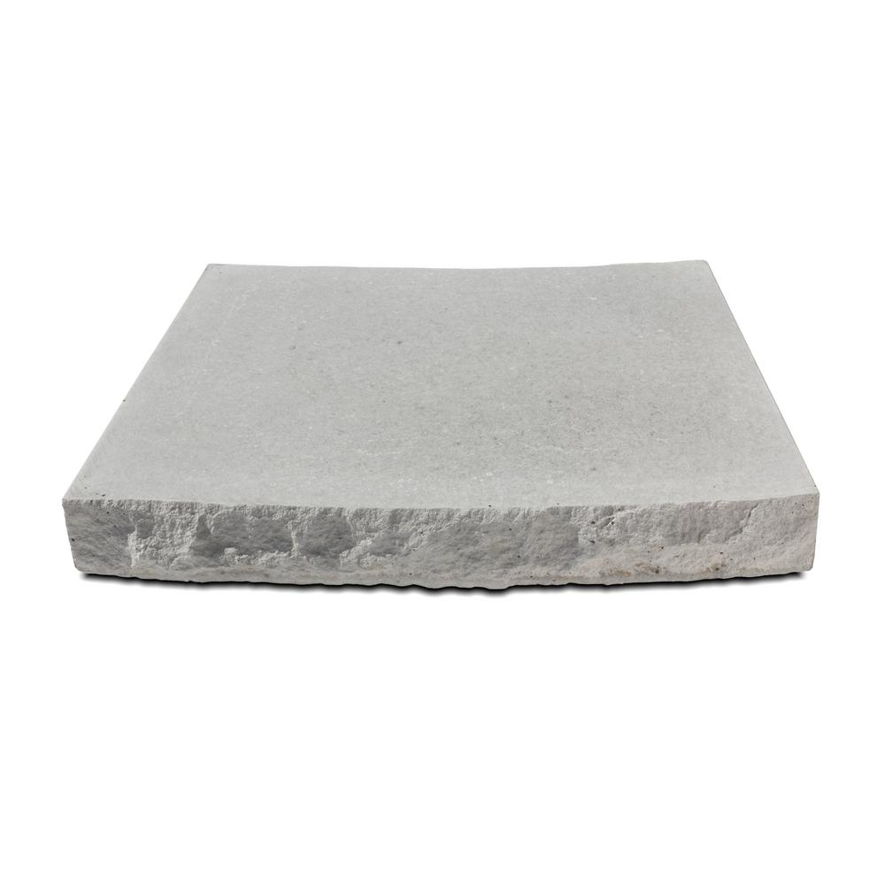 Silver Creek Stoneworks Silver Creek 18.75 in. W x 12 in D. x 2.25 in. H Indiana Limestone Concrete Radius Seat Wall Cap Chiseled 2 Sides