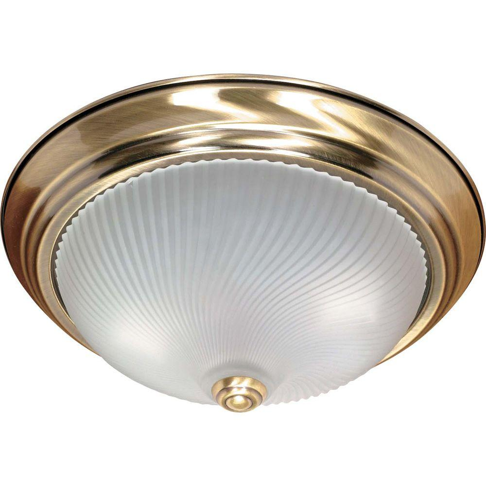 Hampton Bay 1-Light Antique Brass Flushmount-JO106H