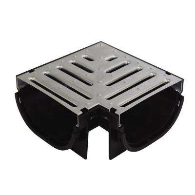 Compact Series 90° Corner for Trench and Channel Drain Systems, Pressed Galvanized Steel Grate