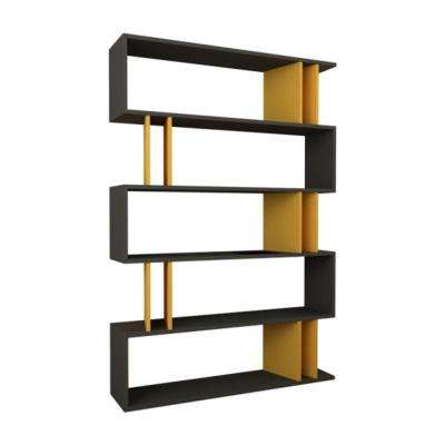 Berwyn Anthracite and Mustard Mid-Century Modern Bookcase