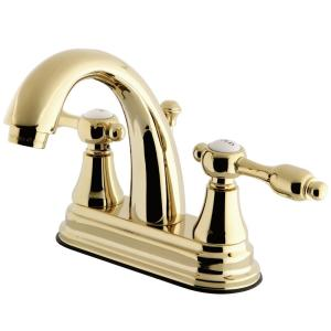 Kingston brass tudor 4 in centerset 2 handle high arc bathroom faucet in polished brass for Polished brass high arc bathroom faucet