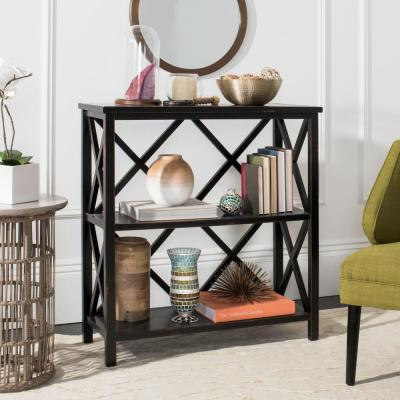 Black 2 Open Back Bookcases Home Office Furniture