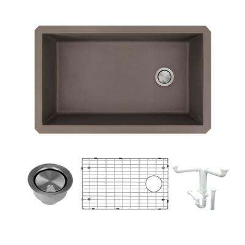 Radius All-in-One Undermount Granite 32 in. Single Bowl Kitchen Sink in Espresso