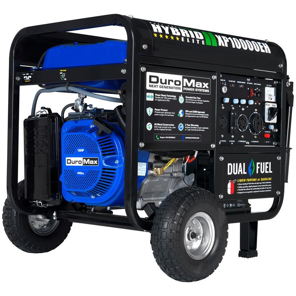 DUROMAX 10,000-Watt/8,000-Watt Electric Start Dual Fuel Powered Portable Generator