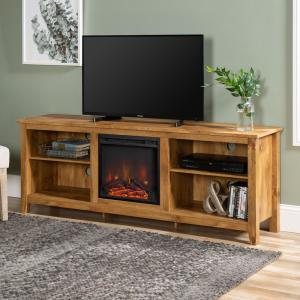 Barnwood 70 in. Wood Media TV Stand Console with Fireplace