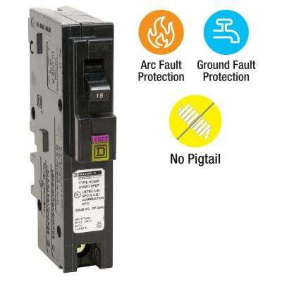 Homeline 15 Amp Single-Pole Plug-On Neutral Dual Function (CAFCI and GFCI) Circuit Breaker