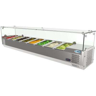 71 in. W 8-Pan 1 cu. ft. Commercial Countertop Refrigerator Condiment Prep Station in Stainless Steel