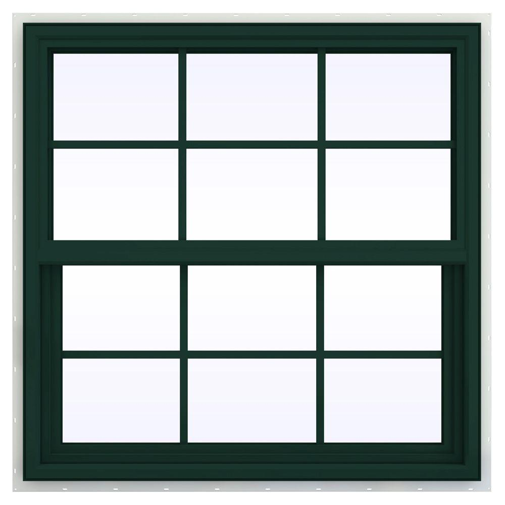 JELD-WEN 35.5 in. x 35.5 in. V-4500 Series Single Hung Vinyl Window with Grids - Green