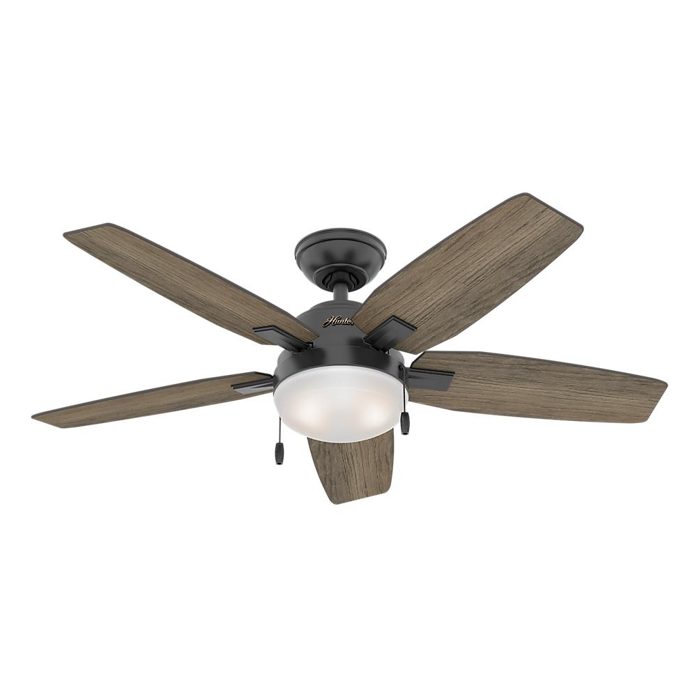 Hunter Antero 46 in. LED Indoor Matte Black Ceiling Fan with Light Kit