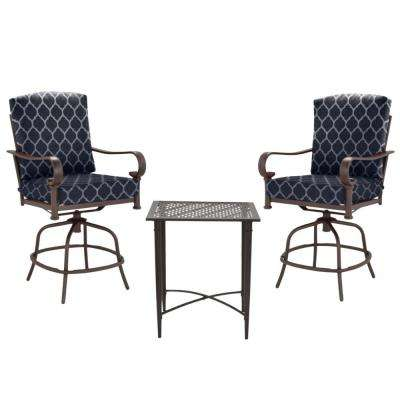 Oak Cliff Brown 3-Piece Steel Outdoor Patio Balcony Height Bistro Set with CushionGuard Midnight Trellis Navy Cushions