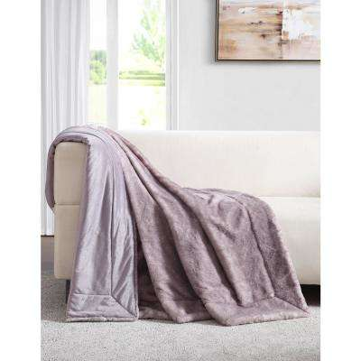Millburn Faux Lavender Fur Throw Blanket