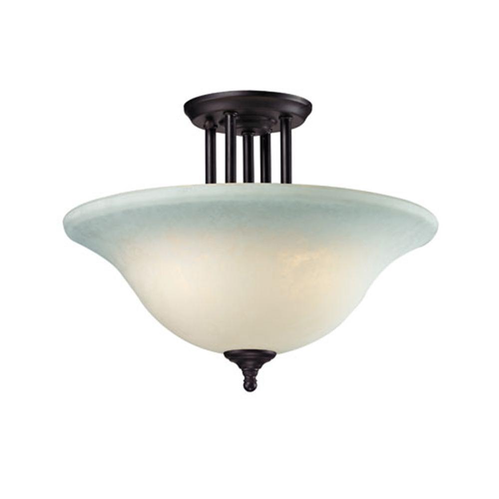 Tulen Lawrence 3-Light Matte Black Incandescent Ceiling Semi Flush Mount