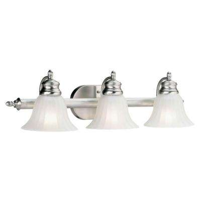 Chand 3-Light Brushed Nickel Bath Vanity Light with Fluted Satin Etched Glass
