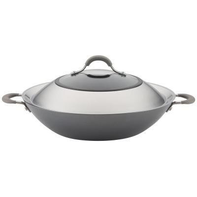 Elementum Hard-Anodized Nonstick Covered Wok with Side Handles, 14-Inch, Oyster Gray