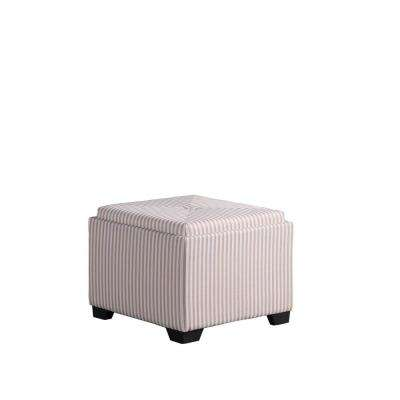 Yellow And Gray Stripes Single Tufted Storage Ottoman