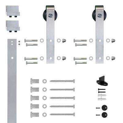Hook Strap Satin Nickel Rolling Barn Door Hardware Kit with 2-3/4 in. Wheel