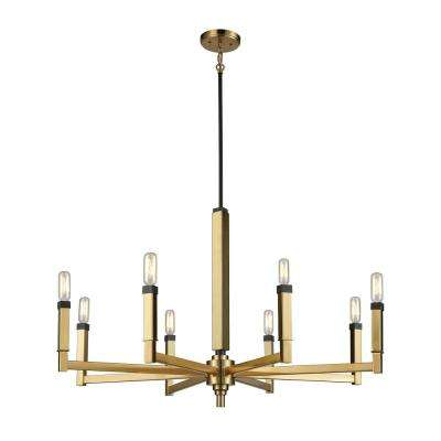 Mandeville 8-Light Round Satin Brass with Oil Rubbed Bronze Accents Chandelier