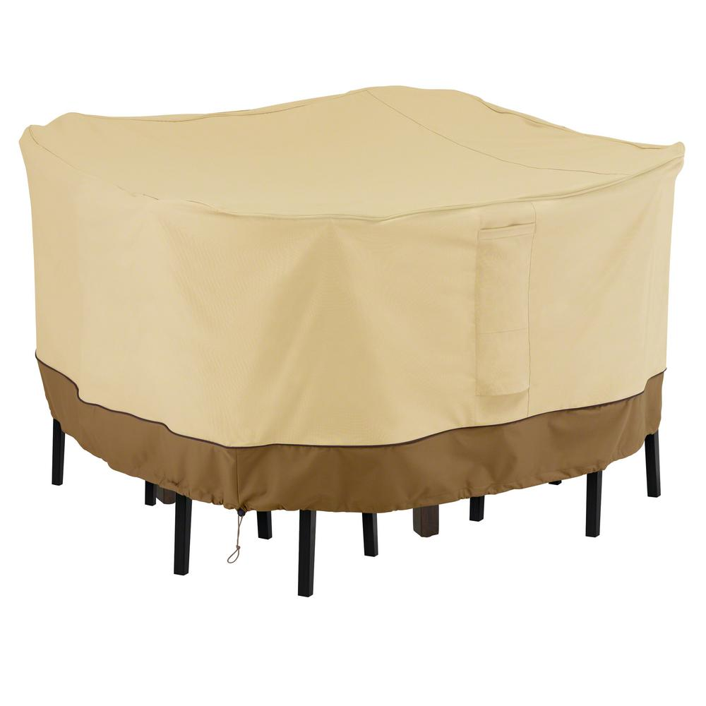 Classic accessories veranda medium square outdoor bar table and chair set cover durable and water resistant outdoor patio cover 55 906 031501 00 the