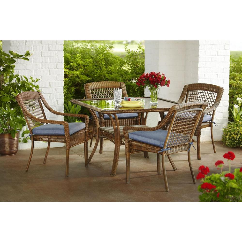 Hampton Bay Spring Haven Brown 5 Piece All Weather Wicker Outdoor Patio Dining Set With Sky Blue