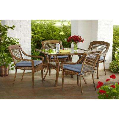 Spring Haven Brown 5-Piece All-Weather Wicker Patio Dining Set with Sky Blue Cushions