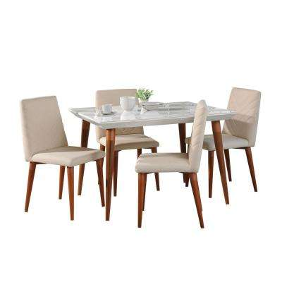 Utopia 47.24 in. 5-Piece White Gloss and Beige Dining Set