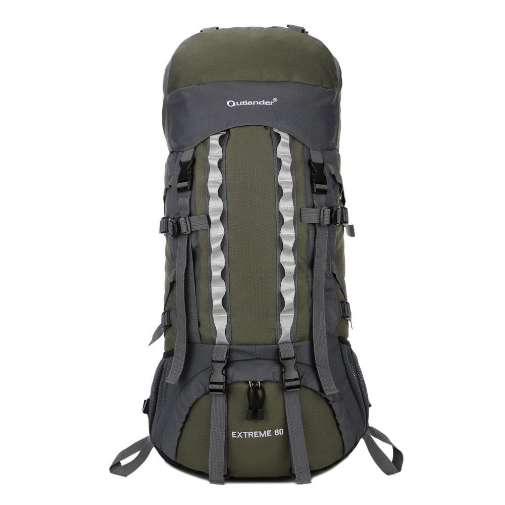80L Waterproof Double Hook Edge 31 in. Army Green Backpack Shoulders Bag