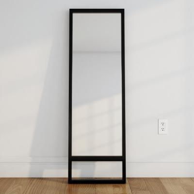 Oversized Ebony Wood Classic Mid-Century Modern Mission Southwestern Mirror (62 in. H X 20 in. W)