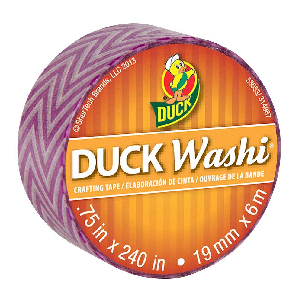 Duck 0.75 in. x 6.6 yds. Purple Chevron Washi Crafting Tape