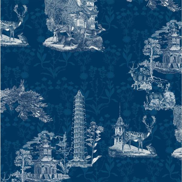 Mitchell Black Debut Collection Pagoda Toile in Midnight Removable and Repositionable Wallpaper
