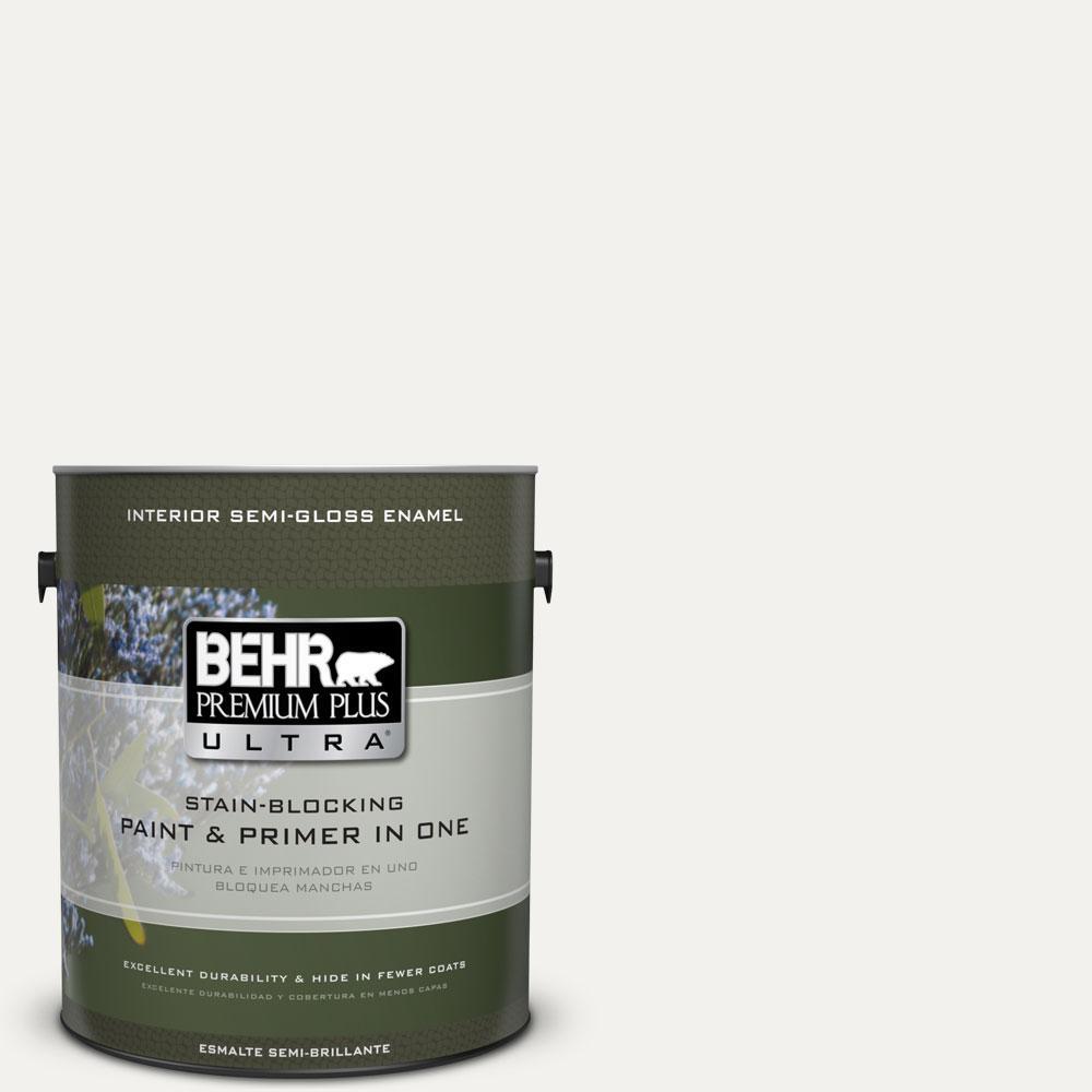 BEHR Premium Plus Ultra 1-gal. #W-F-600 Snow Fall Semi-Gloss Enamel Interior Paint