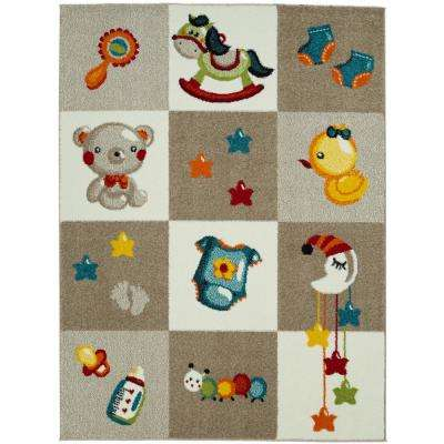 Multi-Color Kids and Children Bedroom and Playroom Nursery Bedtime Teddy Bear 5 ft. x 7 ft. Area Rug