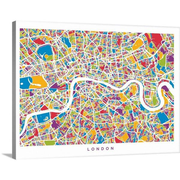 London On England Map.40 In X 30 In London England Street Map Colorful By Michael Tompsett Canvas Wall Art