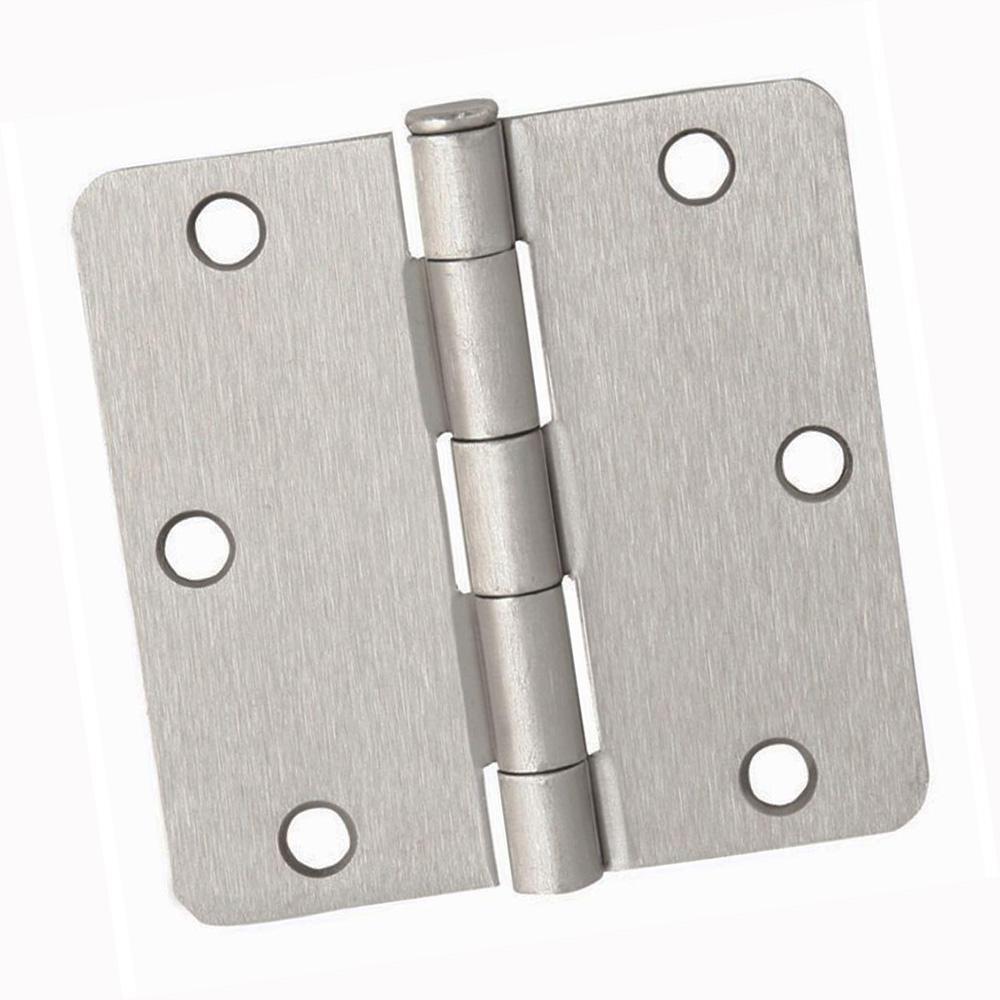 3-1/2 in. Door Hinges 1/4 in. Radius Corner, Satin Nickel (36-Pack)