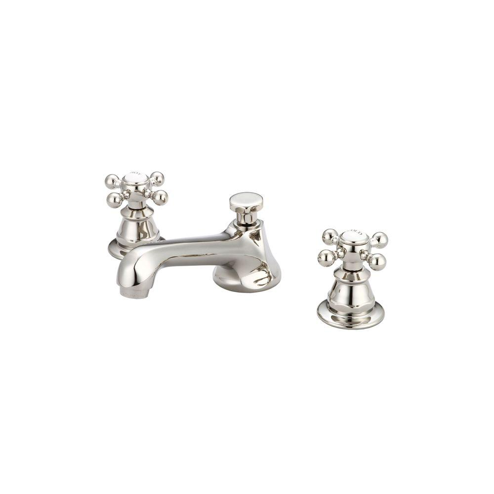 8 in. Widespread 2-Handle Century Classic Bathroom Faucet in Polished Nickel