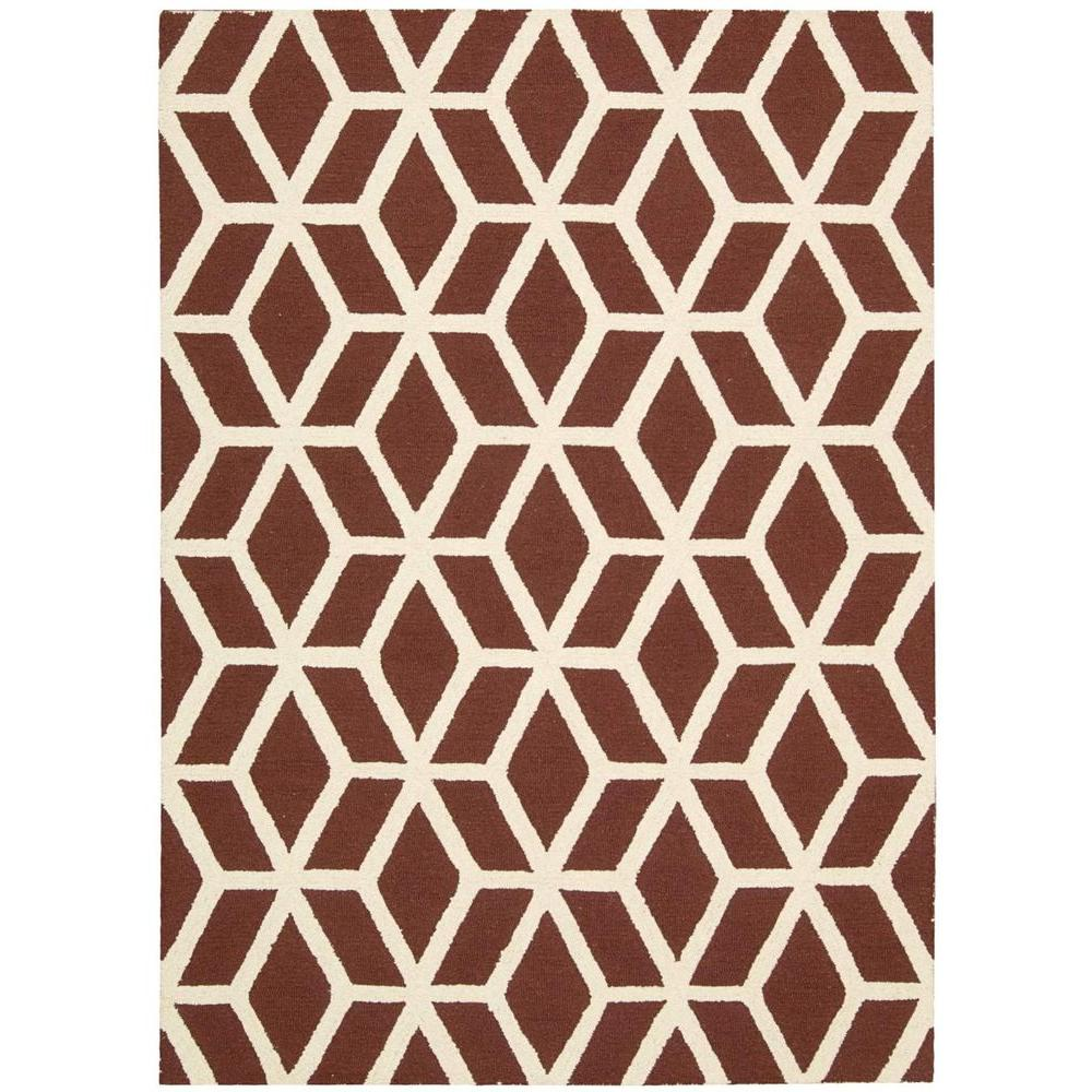 Nourison Linear Brick/Ivory 7 ft. 6 in. x 9 ft. 6 in. Area Rug