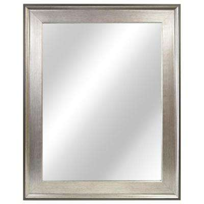23 in. W x 29 in. L Framed Fog Free Wall Mirror in Two-Tone Silver