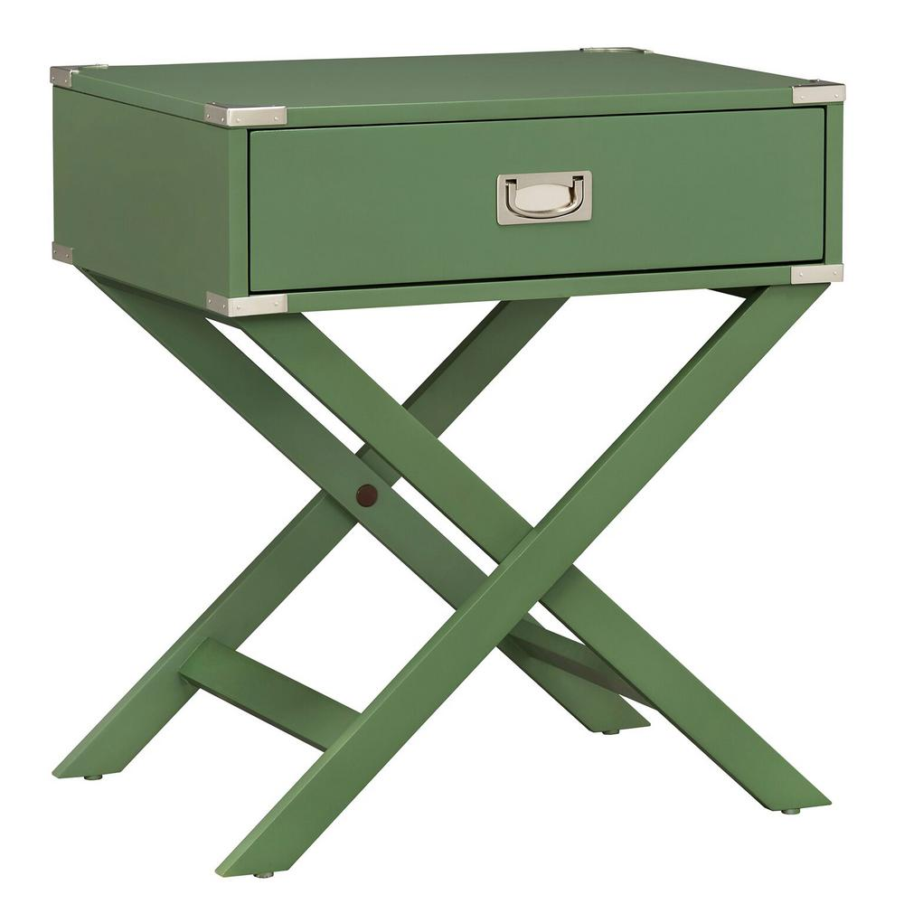 Wenderson 1-Drawer Meadow Green Nightstand