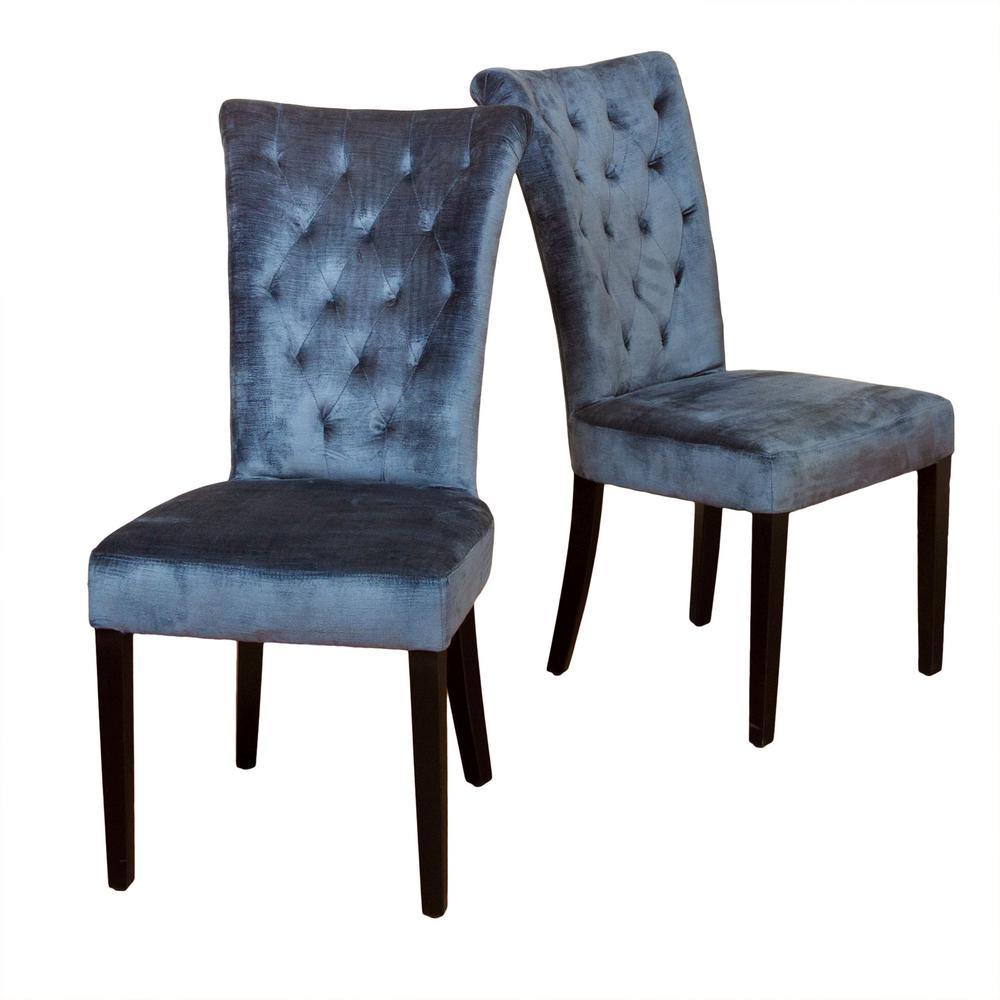 Le House Viola Spanish Blue Velvet Tufted Dining Chairs Set Of 2
