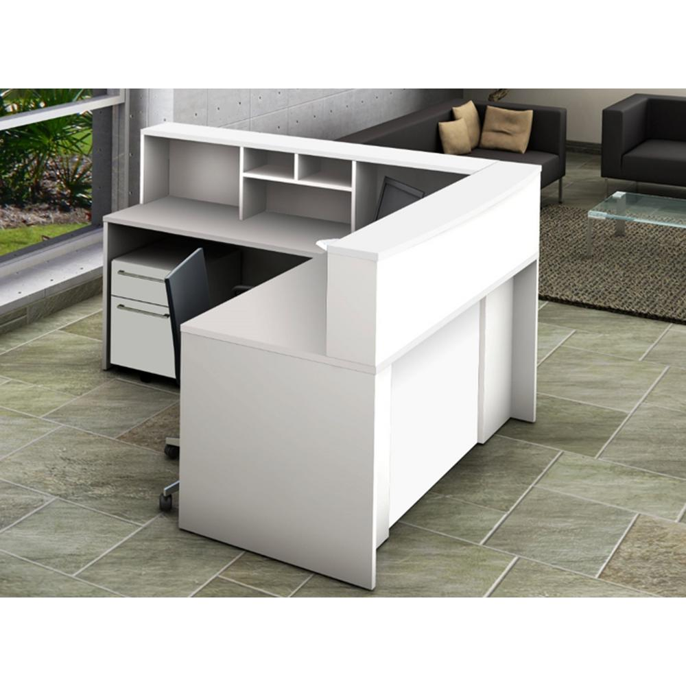 5-Piece White Office Reception Desk Collaboration Center