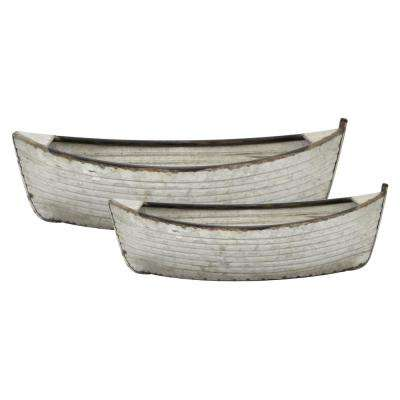 23.5 in. x 11.75 in. Planters in Gray (Set of 2)