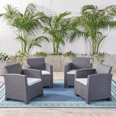 St. Johns Charcoal Removable Cushions Wicker Outdoor Lounge Chair with Light Grey Cushions (4-Pack)