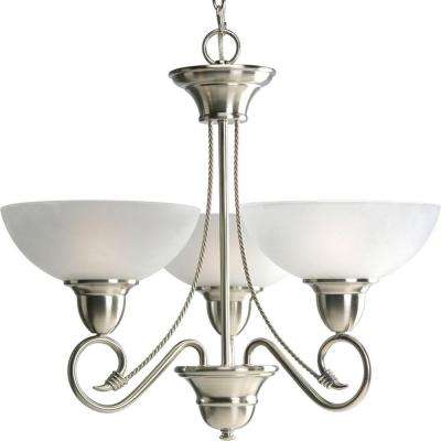 Pavilion Collection 3-Light Brushed Nickel Chandelier with Shade